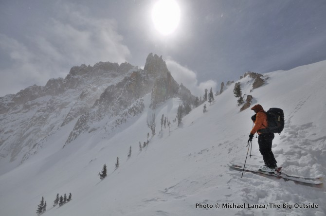 Backcountry skiing below Mt. Heyburn, Sawtooth Mountains, Idaho.
