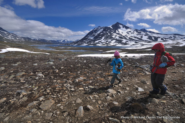 Trekking up the Langvatnet valley, Jotunheimen.