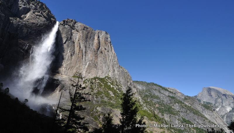 Upper Yosemite Falls and Half Dome (far right), Yosemite Valley.