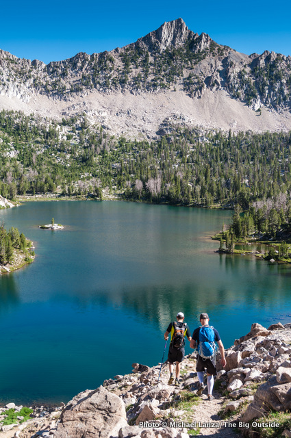 Hikers in Idaho's White Cloud Mountains, shot with an 18-200 zoom lens.